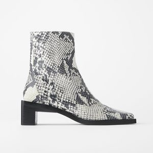 Zara Square Heel Leather Bootie Animal Snake Print